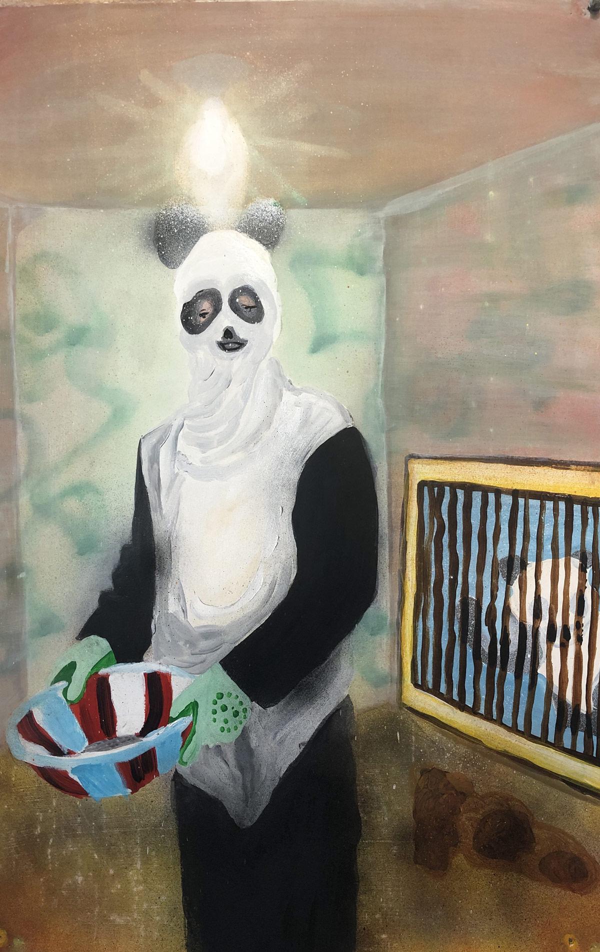 Panda suit acrylic on paper 23.5 x 38