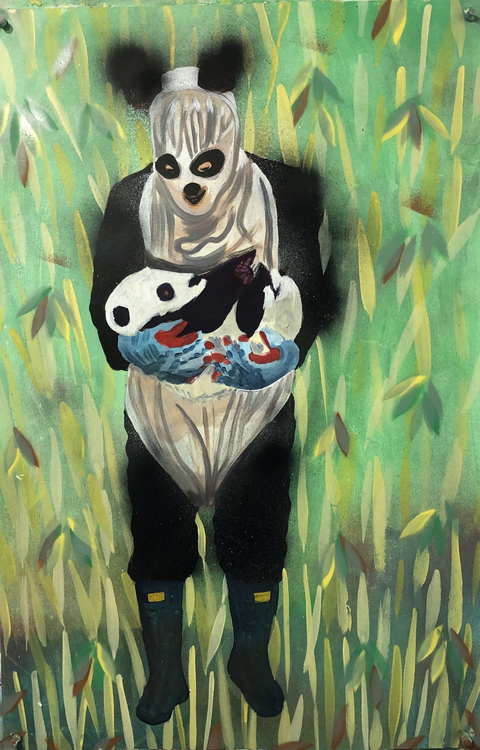 paternal-panda-experiment-2019-acrylic-on-paper-23.5×36-